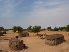 Simple shacks skirt the roadside in southern Mauritania