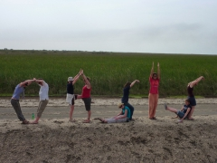 """Spelling out """"OASIS"""" with our bodies; Diawling National Park"""