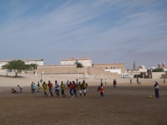 Boys gearing up for a soccer match; Nouadhibou