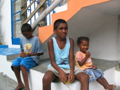 Local Mauritian children hanging out after school