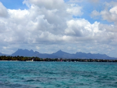 Mauritian landscape from Grand Baie harbor (notice the mountainous interior)