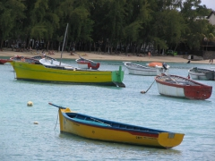 Colorful boats in Grand Baie harbor