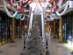 Getting ready for Christmas; interior of Port Louis shopping mall, Caudan Waterfront