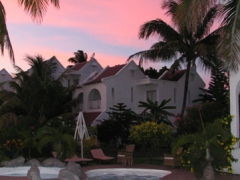 Pink skies overlooking Ocean Villas; Grand Baie