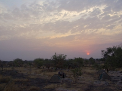 Sunset over one of our many Malian bush camps