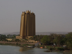 We thought this building along the Niger River in Bamako was a funky new hotel but discovered it to be a bank!