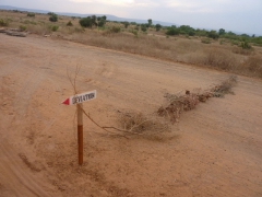 Road sign (and makeshift road block) in the countryside of Mali