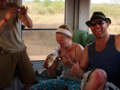 Ruthie taking a swig of Robby's foul Senegal rum