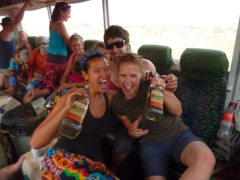 Celebrating after we drank two bottles of Robby's disgusting Senegal Rum