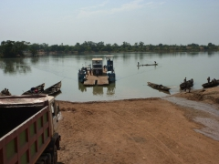 A ferry prepares to float our truck across to the other side of the river