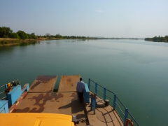 View from the top of Nala (our truck) as we cross the river