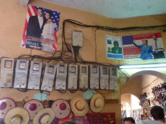 Obama mania has hit the streets of Bamako and we saw several posters proudly hanging on display; Centre Artisanal