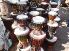Bongo drums for sale; Maison des Artisans in Bamako