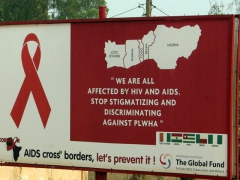 An educational poster showing that AIDS can easily cross borders within west Africa