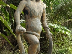 A 3-headed Abomey Statue; Route des Esclaves in Ouidah