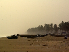 Dusk approaches the coastline near the former slave town of Ouidah