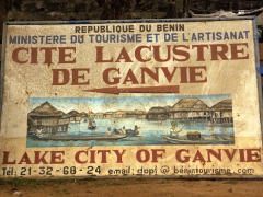 Signpost for the stilt village of Ganvie