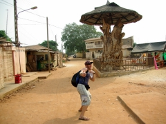 Lucky seems to really like the nicely carved tree stump just behind him in Ouidah
