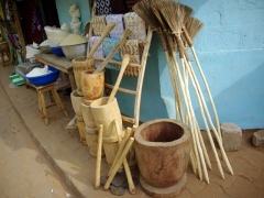 Handmade items for sale along the streets of Ouidah