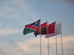 Namibian and Angolan flags at the Santa Clara border crossing