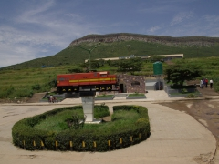 "Train replica outside the ""Caminho de Ferro de Mocamedes"" in Lubango"