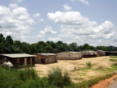 Simple wooden shack dwellings; outskirts of Cabinda