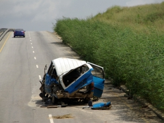 The remains of this car wreck serve as a reminder of the deadly effects of speeding, just outside Cabinda