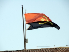 Close up of Angola's flag