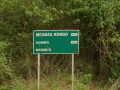 "Signpost for Mbanza Kongo, which was the capital of the Kingdom of the Kongo, a territory of 300 square miles that existed since 1391, a century before Portuguese explorers arrived (read in ""King Leopold's Ghost"" by Adam Hochschild)"
