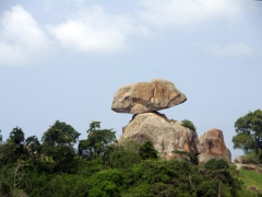 An eye catching rock formation; near Huambo