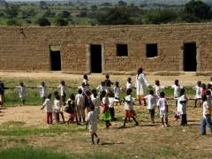 Lubango school kids playing during a break