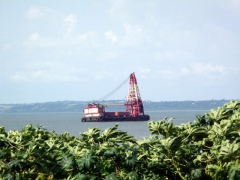 An oil rig just offshore in Cabinda
