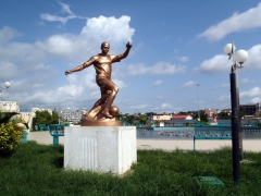 Soccer statue in Cabinda's city center