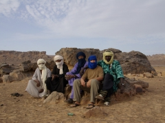 Group portrait of Robby with the Tuaregs; Dider