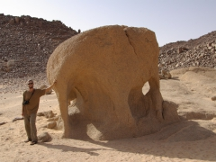 Robby beside an elephant rock formation
