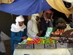 Tuaregs shopping for market goods; Djanet