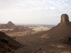 View from Tassili N'Ajjer Plateau looking back down towards the plain