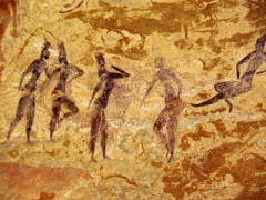 Well preserved cave paintings of a group of women; Jabbaren