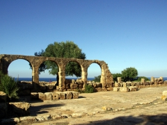 The last four remaining arches that still stand at the Great Christian Basilica; Tipaza