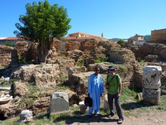 Salim (our guide) & Robby at Roman bath house ruins, Cherchell