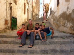 Robby sits in the Casbah with future members of the Algeria football team; Algiers