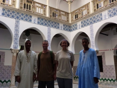 Yousef, Robby, Becky & Salim in the main inner courtyard of Palais Des Rais; Algiers