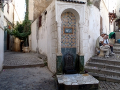 One of many decorative public water fountains at an intersection in the winding alleyways of the Casbah; Algiers