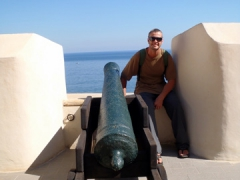Robby at a cannon position in Palais Des Rais; Algiers