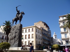 Statue of Abdel Kader gracing a peaceful square; Algiers