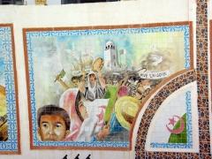 """Tile work displaying the Algerian revolution, """"Long Live Algeria""""; El Oued"""