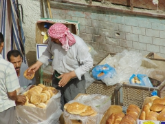 Bread for sale at the El Oued marketplace
