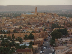 The Mozabite mosques' mud towers are distinctive from their Arab's contemporary counterparts; Ghardaia