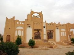 Elaborate monument built as an example of a traditional M'zab building; roundabout outside Ghardaia