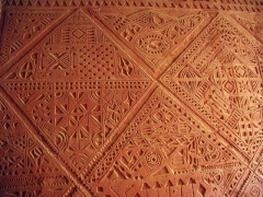 Wall detail of Hotel de l'Oasis Rouge, a beautifully constructed, colonial era Sudanese style building; Timimoun